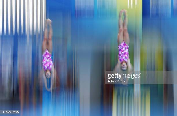 Anna Pysmenska and Olena Fedorova of the Ukraine compete in the Women's 3m Springboard Synchro preliminary round during Day One of the 14th FINA...