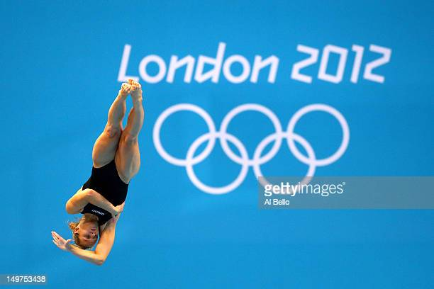 Anna Pysmenska of the Ukraine competes in the Women's 3m Springboard Diving Preliminary Round on Day 7 of the London 2012 Olympic Games at the...