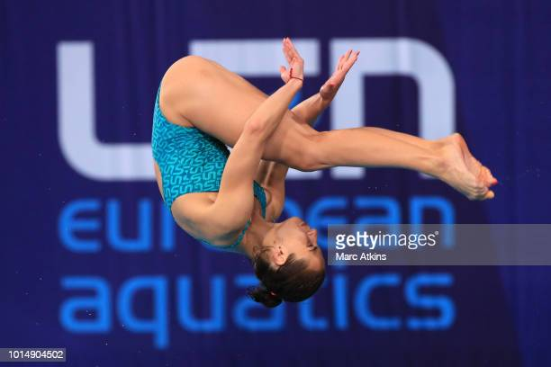Anna Pysmenska of Ukraine competes during the women's 3m springboard diving on Day ten of the European Championships Glasgow 2018 at Royal...