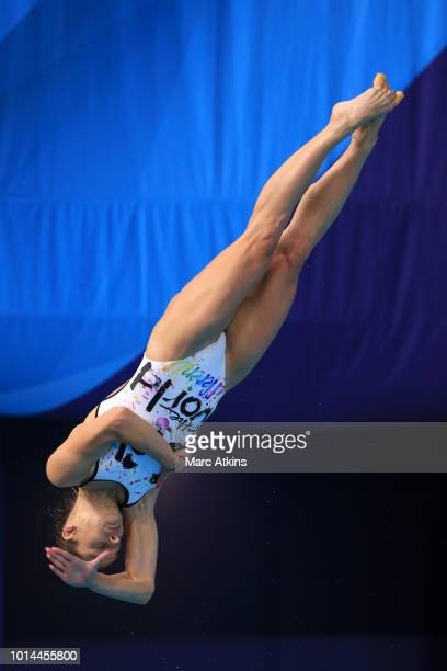 Anna Pysmenska of Ukraine competes in the Women's 1m Springboard Final on Day Nine of the European Championships Glasgow 2018 at Royal Commonwealth...