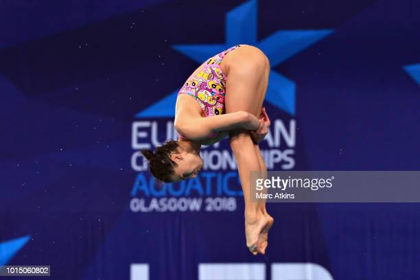 Anna Pysmenska of Ukraine competes in the Women's 3 metre Springboard final during the diving on Day Ten of the European Championships Glasgow 2018...