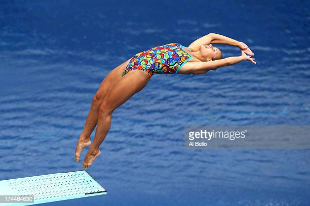 Anna Pysmenska of Ukraine competes in the Women's 3m Springboard Diving Semifinal round on day seven of the 15th FINA World Championships at Piscina...