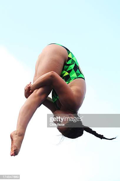 Anna Pysmenska of Ukraine competes in the Women's 3m Springboard Diving Semifinal round on day eight of the 15th FINA World Championships at Piscina...