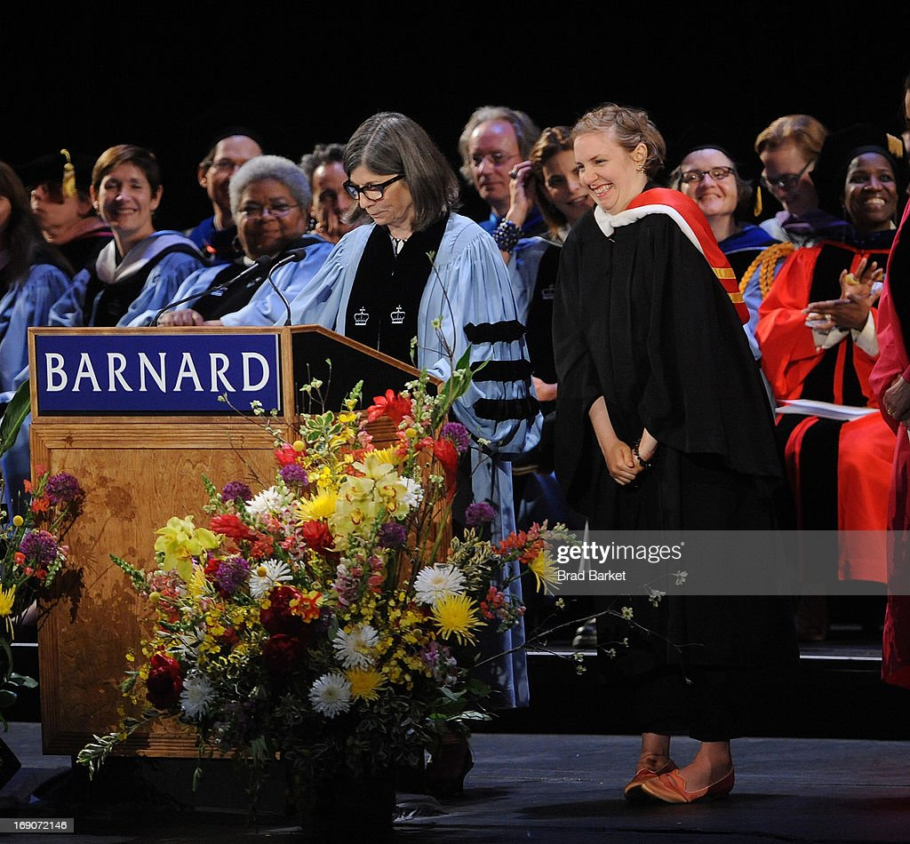 Anna Quindlen gives Actress Lena Dunham a Barnard Medal of Distinction at the 2013 Barnard College Commencement at Radio City Music Hall on May 19, 2013 in New York City.
