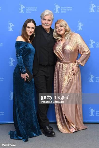 Anna Rakovska, Peter Simonischek and Eva Kramerova pose at the 'The Interpreter' photo call during the 68th Berlinale International Film Festival...