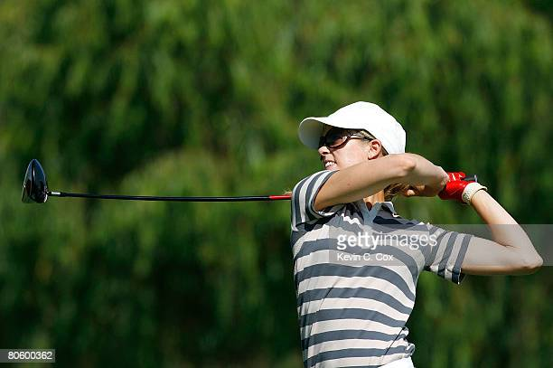 Anna Rawson of Australia tees off the fourth hole during the first round of the Corona Championship at Tres Marias Club de Golf April 10 2008 in...