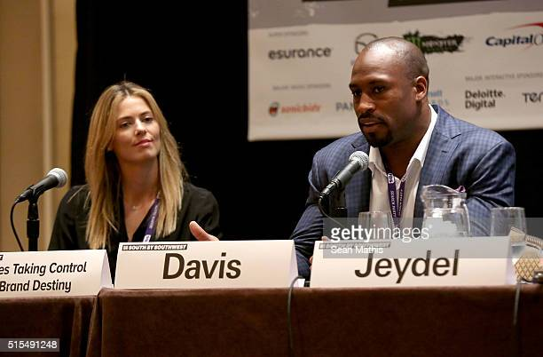 Anna Rawson professional golfer/model and professional football player Vernon Davis speak onstage at 'Pro Athletes Taking Control of Their Brand...