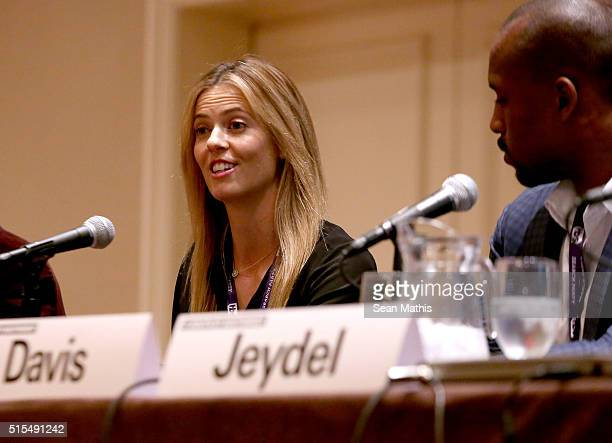 Anna Rawson professional golfer/model speaks onstage at 'Pro Athletes Taking Control of Their Brand Destiny' during the 2016 SXSW Music Film...