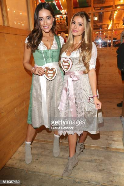 Anna Regner girlfriend of Andre Schuerle and Blogger influencer Pamela Reif at the 'Madlwiesn' event during the Oktoberfest at Theresienwiese on...