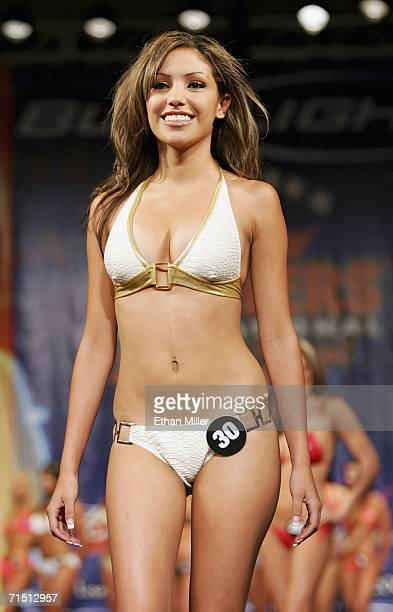 Anna Rivera of New Mexico competes in a preliminary preview of the 10th annual Hooters International Swimsuit Pageant at the Aladdin Casino Resort...
