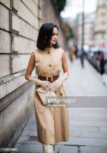 Anna Rosa Vitello is seen wearing beige sleeveless dress, gloves outside Elie Saab during Paris Fashion Week Womenswear Fall/Winter 2019/2020 on...