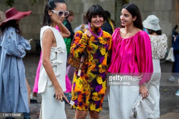 Anna Rosa Vitello Maria Bernad and Bettina Looney seen outside Saks Potts during Copenhagen Fashion Week Spring/Summer 2020 on August 08 2019 in...