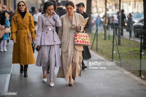 Anna Rosa Vitiello and Bettina Looney is seen outside Fendi on Day 2 Milan Fashion Week Autumn/Winter 2019/20 on February 21 2019 in Milan Italy