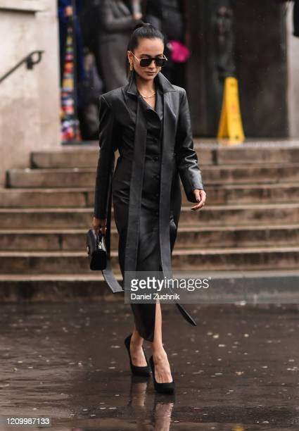 Anna Rosa Vitiello is seen wearing an Akris balck outfit outside the Akris show during Paris Fashion Week: AW20 on March 02, 2020 in Paris, France.