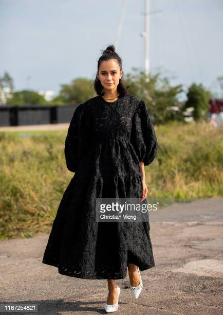 Anna Rosa Vitiello is seen wearing black dress outside Cecilie Bahnsen during Copenhagen Fashion Week Spring/Summer 2020 on August 07, 2019 in...