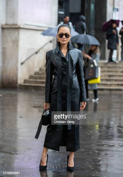 Anna Rosa Vitiello is seen wearing black leather coat outside Akris during Paris Fashion Week - Womenswear Fall/Winter 2020/2021 : Day Eight on March...