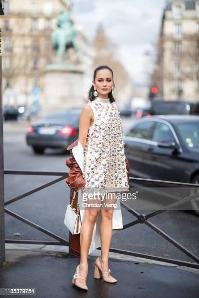 Anna Rosa Vitiello is seen wearing dress outside Miu Miu during Paris Fashion Week Womenswear Fall/Winter 2019/2020 on March 05 2019 in Paris France