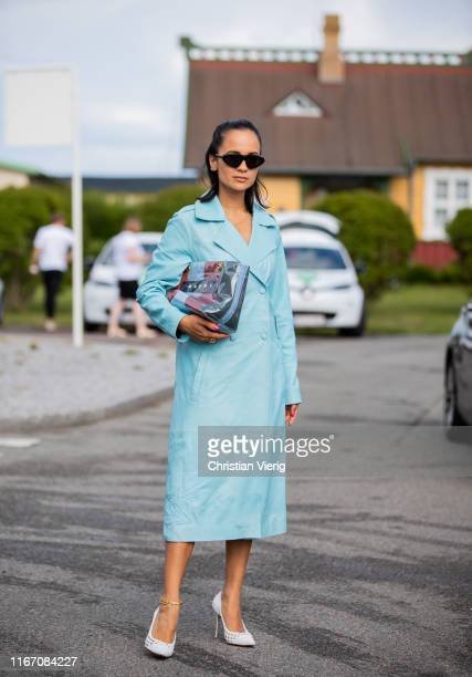 Anna Rosa Vitiello seen wearing turquois coat outside Stine Goya during Copenhagen Fashion Week Spring/Summer 2020 on August 08, 2019 in Copenhagen,...