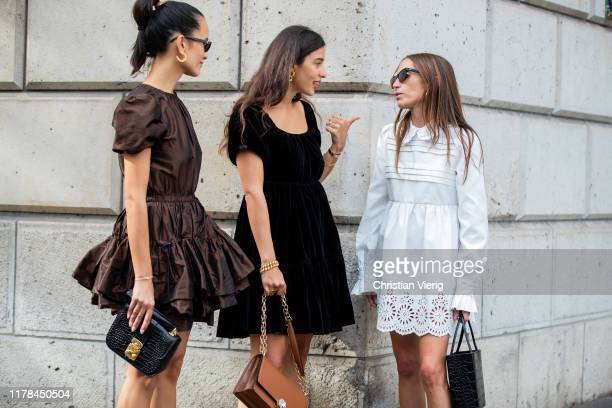 Anna Rosa Vitiello wearing brown dress, Bettina Looney seen wearing black velvet dress, brown bag and Chloe Harrouche wearing white dress outside Miu...
