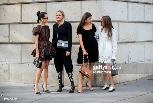 Anna Rosa Vitiello wearing brown dress, Nina Suess wearing black blazer, Bettina Looney seen wearing black velvet dress, brown bag and Chloe...