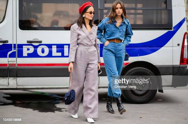 Anna Rosa Vitiello wearing high waist pants blazer red beret is seen outside Chanel during Paris Fashion Week Womenswear Spring/Summer 2019 on...
