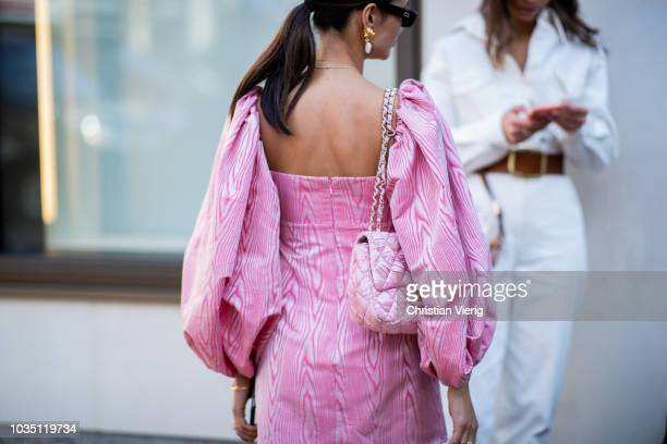 Anna Rosa Vitiello wearing pink dress is seen outside Emilia Wickstead during London Fashion Week September 2018 on September 17, 2018 in London,...
