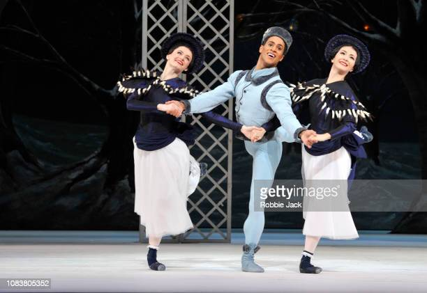 Anna Rose O'Sullivan Marcelino Sambe and Yuhui Choe in The Royal Ballet's production of Frederick Ashton's Les Patineurs at The Royal Opera House on...