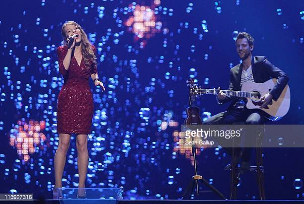 Anna Rossinelli of Switzerland performs at the first semifinals of the Eurovision Song Contest 2011 on May 10 2011 in Duesseldorf Germany