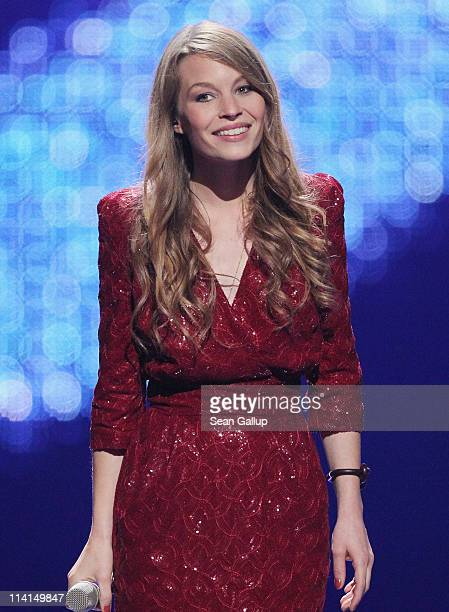 Anna Rossinelli of Switzerland performs during the dress rehearsal ahead of the finals of the 2011 Eurovision Song Contest on May 13 2011 in...
