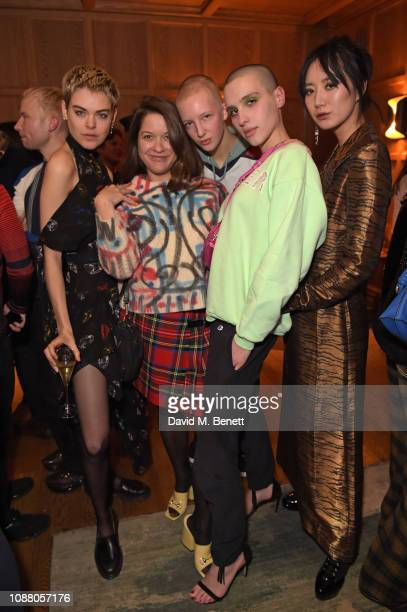 Anna Rubin Madeleine Ostlie Finn Buchanan Maxim Magnus and Betty Bachz attend Burns Night Gathering hosted by Christopher Kane and The London EDITION...