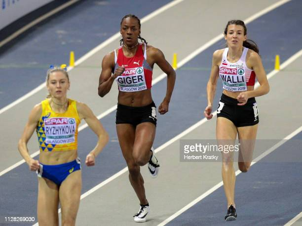 Anna Ryzhykova of the Urkraine Yasmin Giger of Switzerland and Susanne Walli of Austria compete in the qualification heats of the women's 400m event...