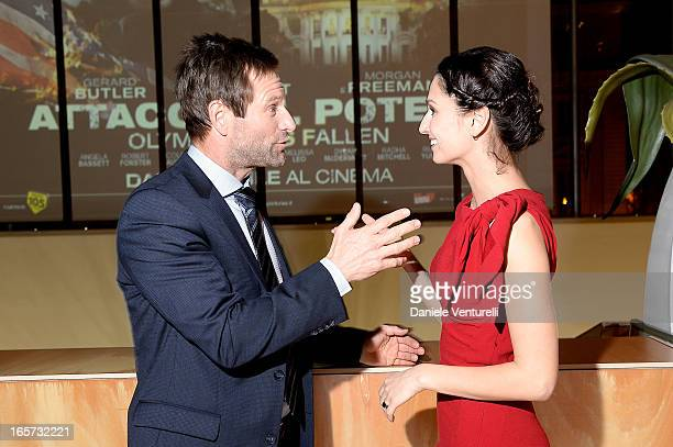 Anna Safroncik and Aaron Eckhart attend a gala dinner by Antonello Colonna for the movie 'Olympus Has Fallen' on April 5 2013 in Rome Italy