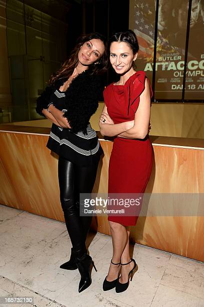 Anna Safroncik and Madalina Ghenea attend a gala dinner by Antonello Colonna for the movie 'Olympus Has Fallen' on April 5 2013 in Rome Italy