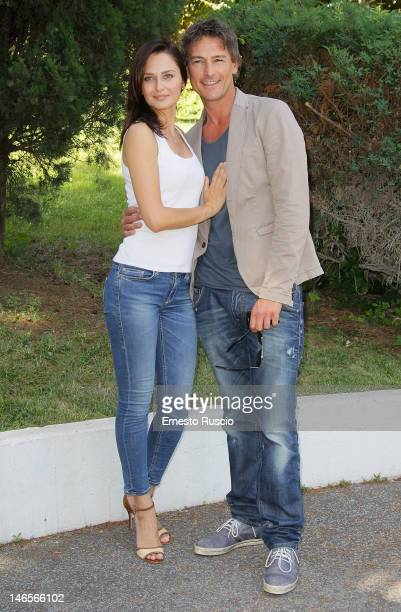 Anna Safroncik and Roberto Farnesi attend the Le Tre Rose di Eva photocall at Mediaset of Via Aurelia on June 19 2012 in Rome Italy