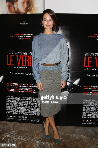 Anna Safroncik attends a photocall for 'Le Verita' on April 27 2017 in Rome Italy