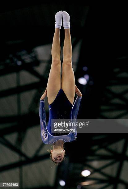Anna Savkina of Uzbekistan performs during the Women's Individual Qualification Gymnastics Trampoline Competition during the 15th Asian Games Doha...