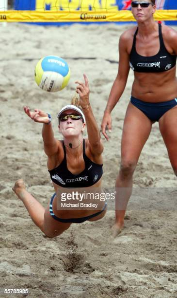 Anna Scarlett dives for the ball as team mate Marnie Grant looks on during the beach volleyball tour match against Emilia and Erika Nystrom played at...