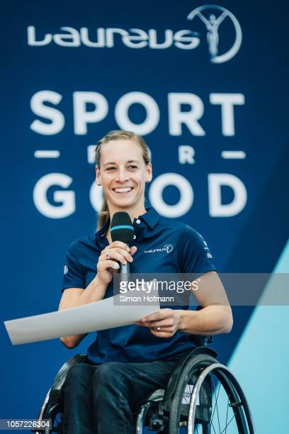 Anna Schaffelhuber is announced on stage as Laureus Ambassador during the Laureus Sport for Good Global Summit in partnership with Allianz at INSEP...