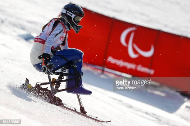 Anna Schafferlhuber of Germany competes in the Men's Super Combined Sitting Alpine Skiing event at Jeongseon Alpine Centre during day four of the...