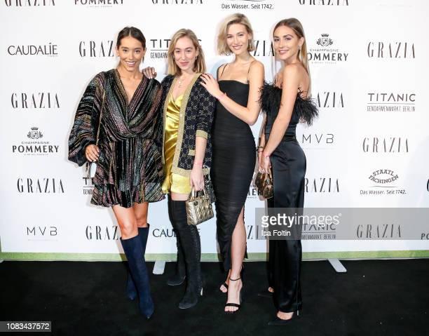 Anna Scharikova Sonja Lyson Mandy Bork and AnnKathrin Goetze during the Grazia Fashion Dinner 2019 at Titanic Hotel on January 16 2019 in Berlin...