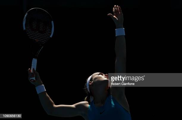 Anna Schmiedlová of Slovakia serves during her singles match against Evgeniya Rodina of Russia during day three of the 2019 Hobart International at...