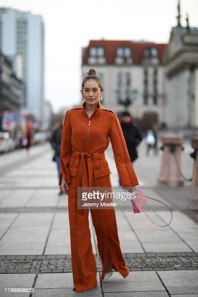Anna Schürrle wearing a Nobi Talai overall and a mini Hermes bag during the Berlin Fashion Week Autumn/Winter 2020 on January 14 2020 in Berlin...