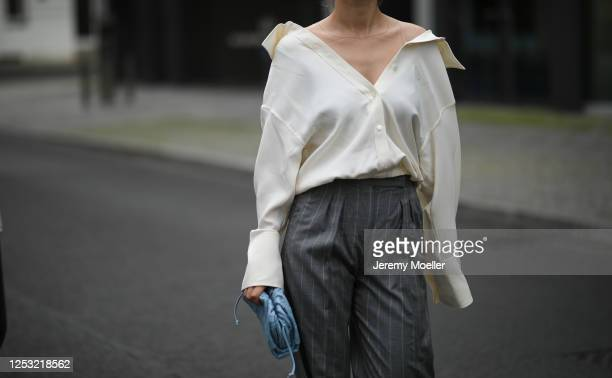 Anna Schürrle wearing Bottega Veneta bag Alexander Wang blouse and Max Mara pants on June 28 2020 in Berlin Germany