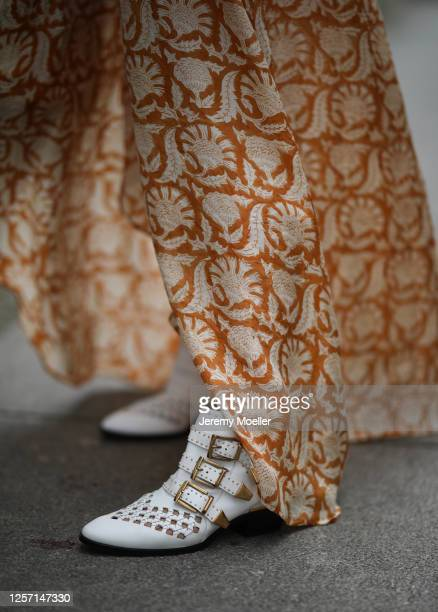 Anna Schürrle wearing Hannah dress and Chloe boots on July 17 2020 in Berlin Germany