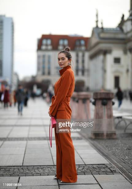 Anna Schürrle wearing Nobi Talai overall and Hermes bag during the Berlin Fashion Week Autumn/Winter 2020 on January 14 2020 in Berlin Germany