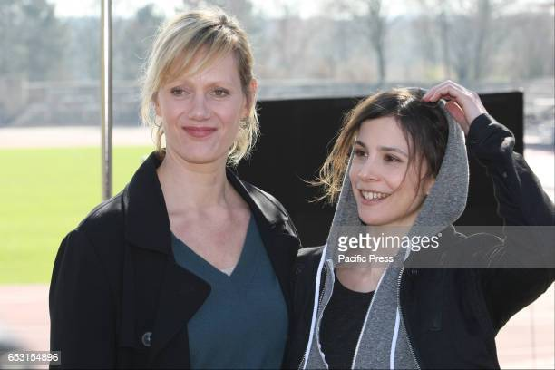 Anna Schudt and Aylin Tezel during a photocall on set of the WDR Tatort Tollwut'