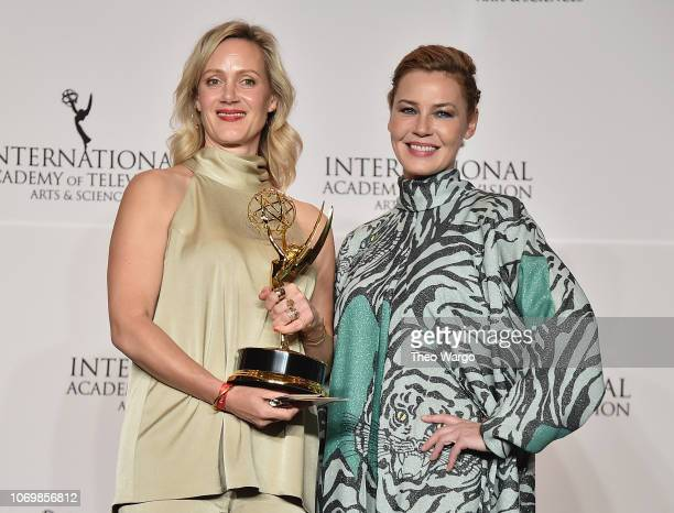 Anna Schudt and Connie Nielsen attend the 46th Annual International Emmy Awards at New York Hilton on November 19 2018 in New York City