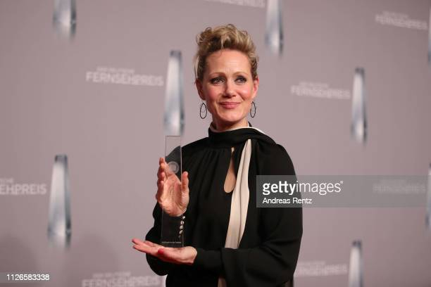 Anna Schudt poses with her award during the German Television Award at Rheinterrasse on January 31 2019 in Duesseldorf Germany