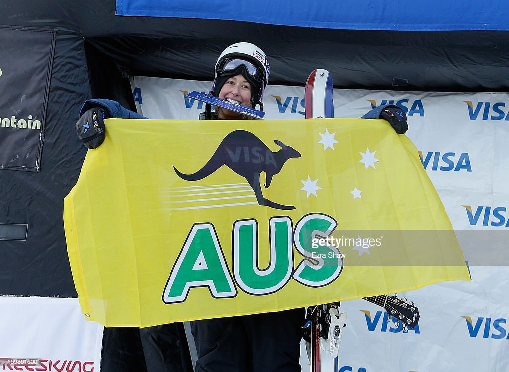 Anna Segal of Australia stands on the podium after placing third in the FIS Freestyle Ski World Cup ladies' slope style final at the U.S. Grand Prix on January 12, 2013 in Copper Mountain, Colorado.