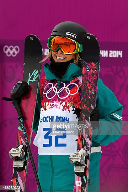 Anna Segal of Australia waits for her score in the Freestyle Skiing Women's Ski Slopestyle Finals on day four of the Sochi 2014 Winter Olympics at...